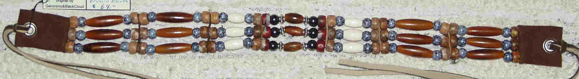 Native Halsband - Brown Earth. Mit Crowbeads, Marmorperlen, echten Knochen, Hornpipes, Hämatithperlen, Sterling-Silberperlen, Metallösen. Richtpreis € 64.-
